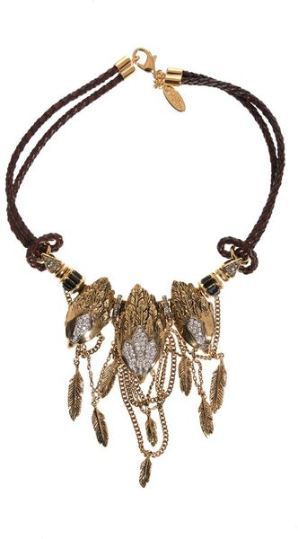 Roberto Cavalli Rapacious Bird Necklace in Brown