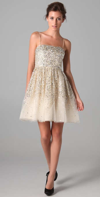 Alice   olivia Tallulah Sequined Party Dress in Metallic  Lyst