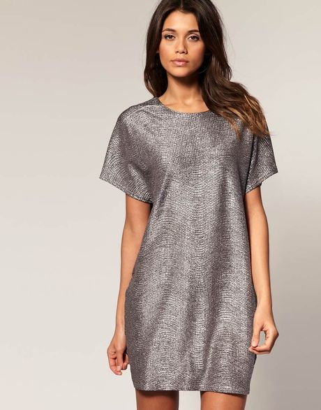 Asos Collection Asos Metallic Cocoon Dress in Silver - Lyst