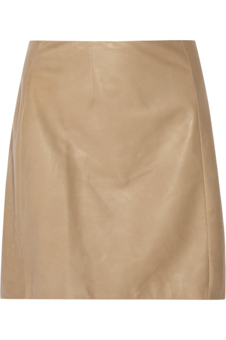 calvin klein leather a line skirt in beige camel lyst