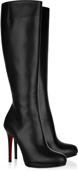 Christian Louboutin New Simple Botta 120 Leather Knee Boots in Black