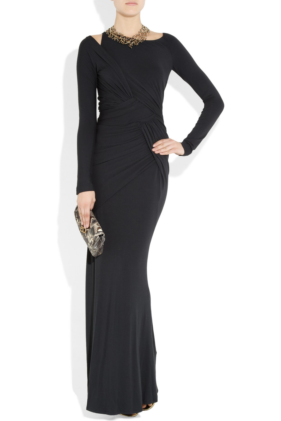 Donna Karan Wrap Effect Stretch Jersey Maxi Dress In Black