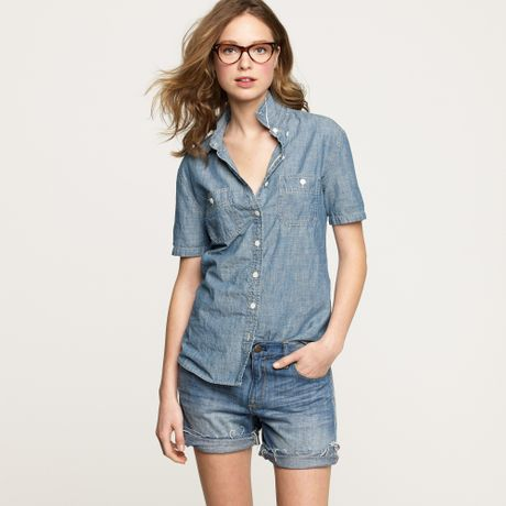Short sleeve selvedge chambray shirt in blue for Short sleeve chambray shirt women