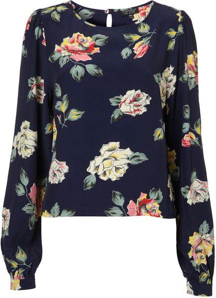 Topshop Long Sleeve Rose Print Blouse 48