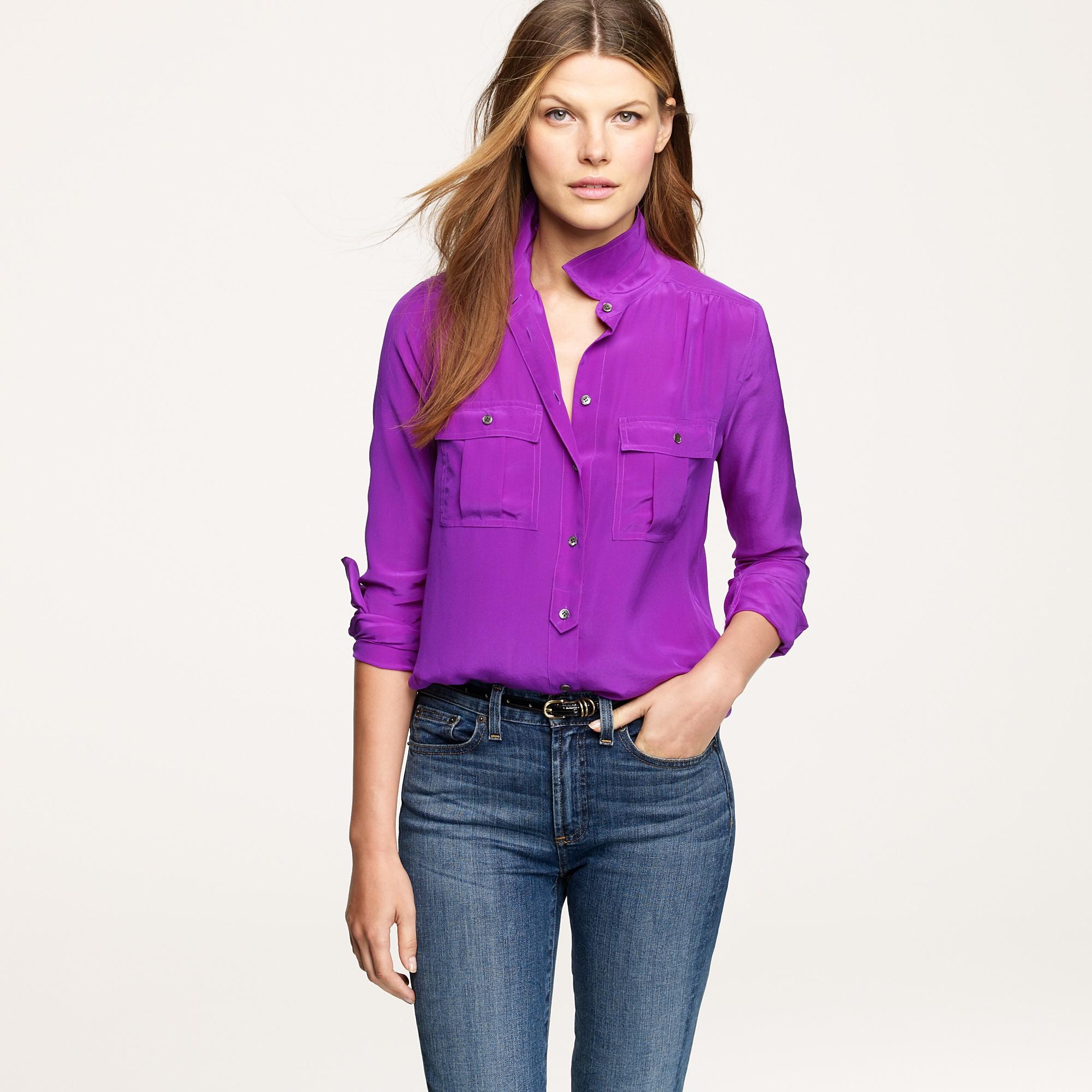 Lyst J Crew Blythe Blouse In Silk In Purple