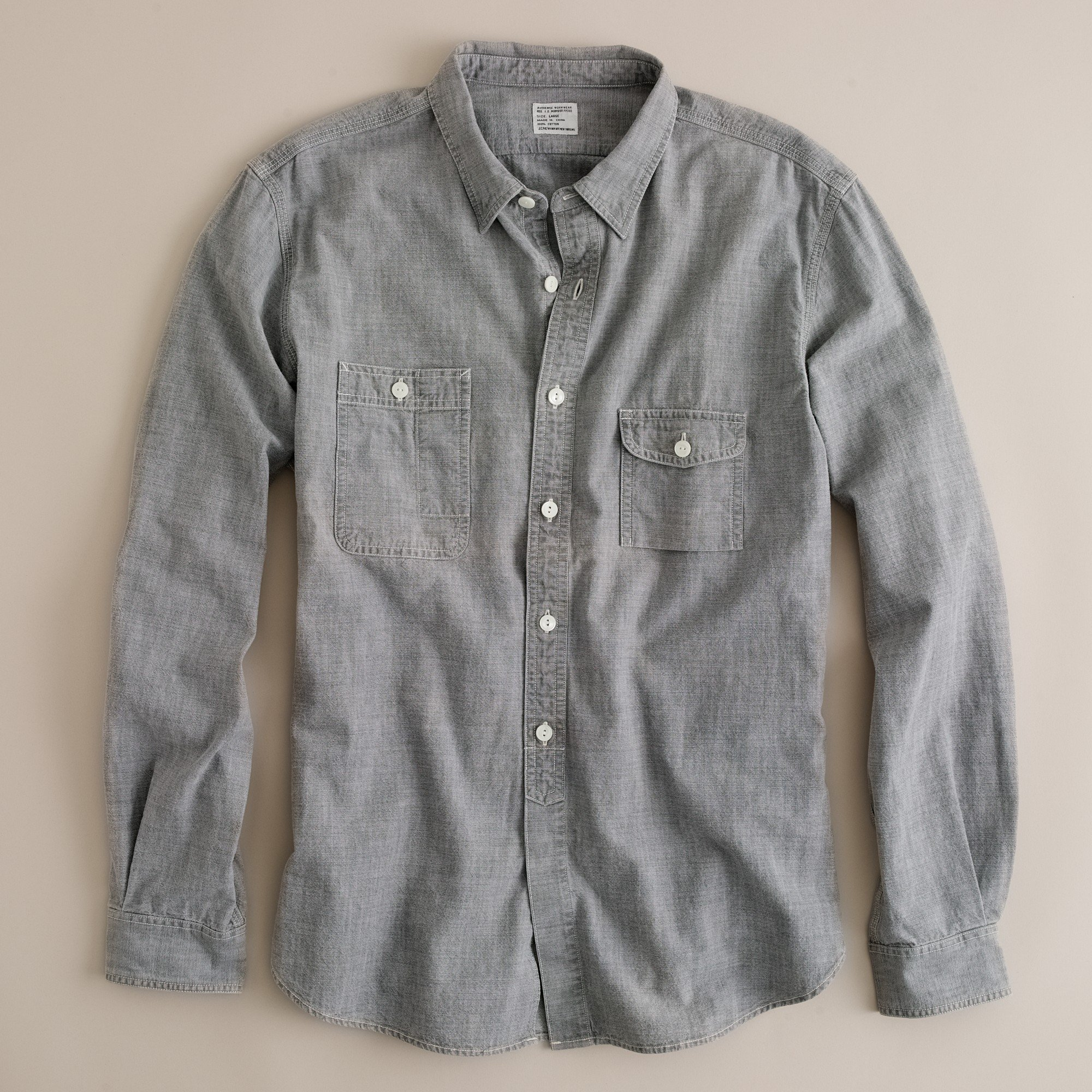 J Crew Grey Vintage Chambray Utility Shirt In Gray For Men