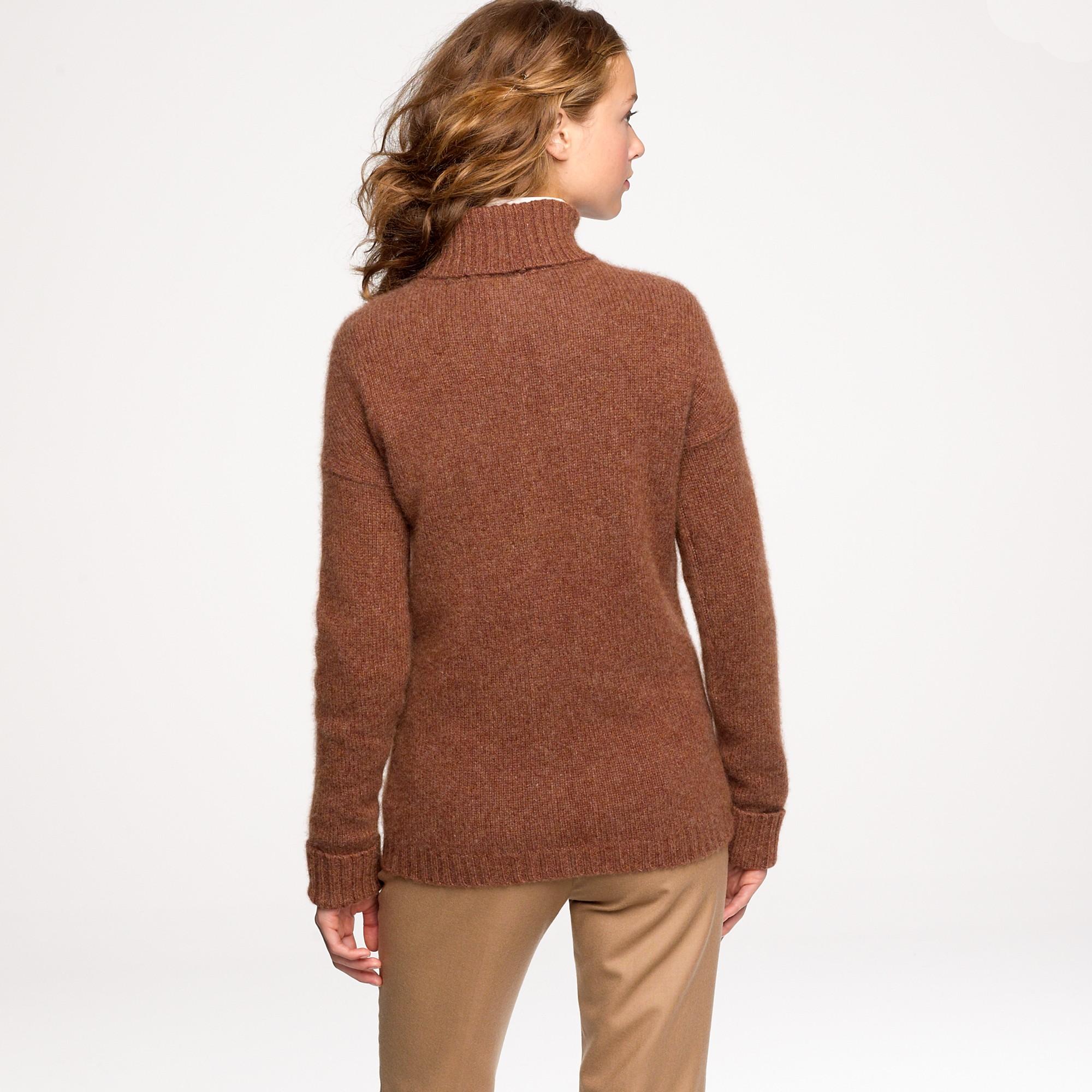 J.crew Cashmere-mohair Turtleneck Sweater in Brown