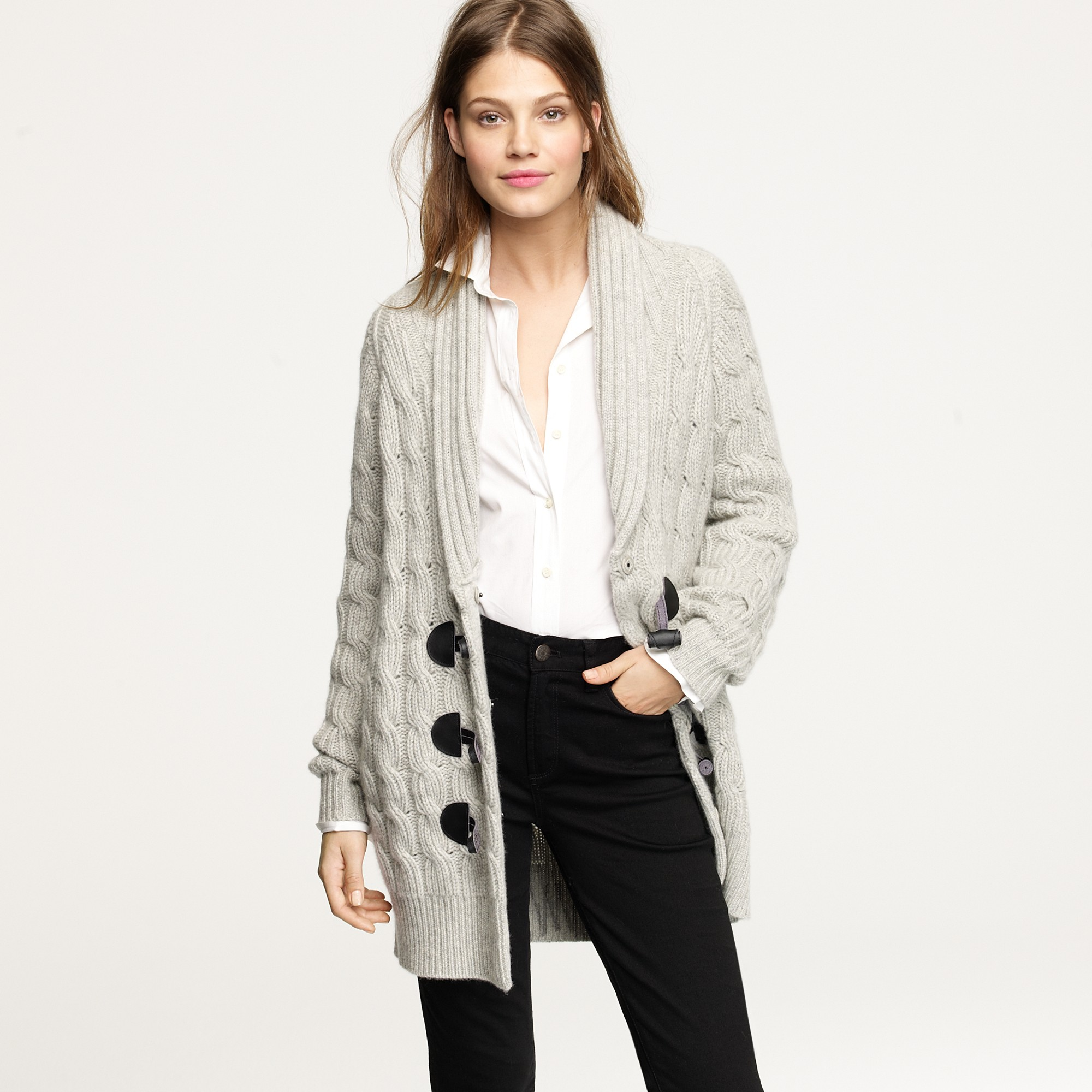 J.crew Cashmere Cable Boyfriend Cardigan in Gray | Lyst