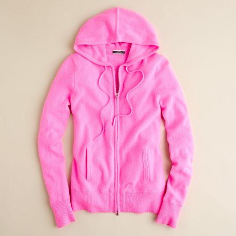 Jew Cashmere Zip front Hoo in Pink neon azalea #0: jcrew neon azalea cashmere zip front hoo product 1 large flex