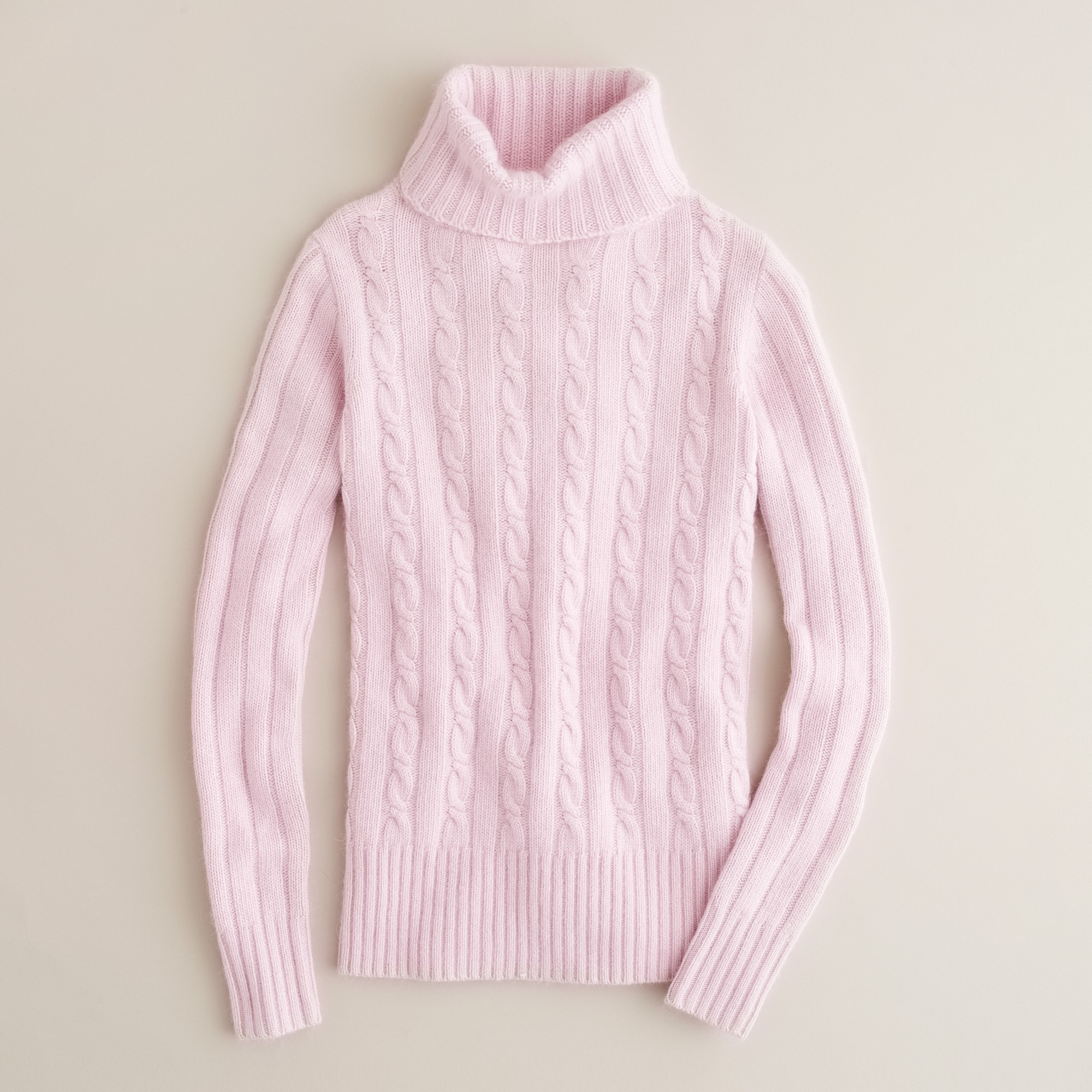 J.crew Cambridge Cable Chunky Turtleneck Sweater in Pink | Lyst