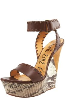 Lanvin Two-tone Wedge Sandal - Lyst