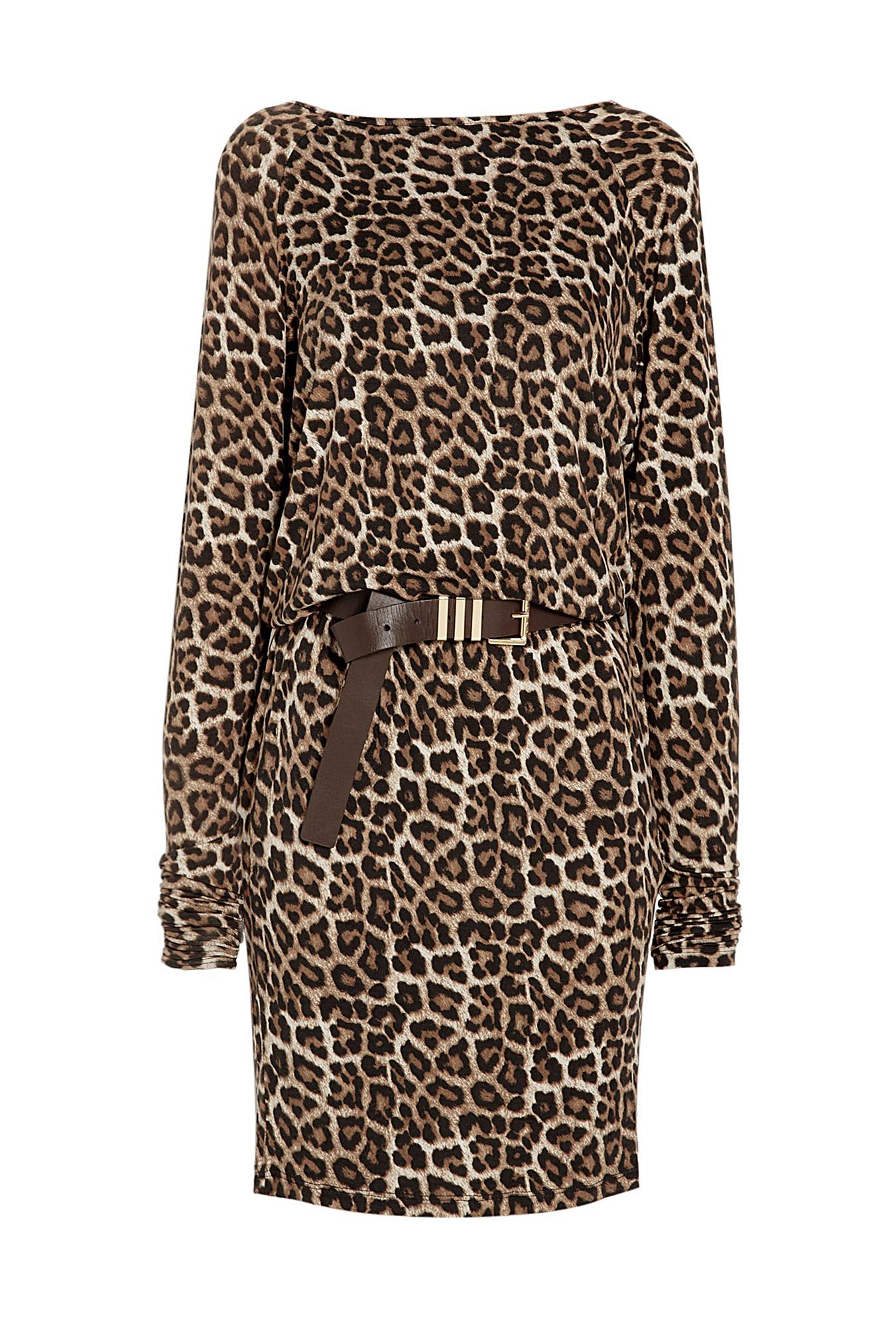 Michael Michael Kors Belted Raglan Animal Print Dress In