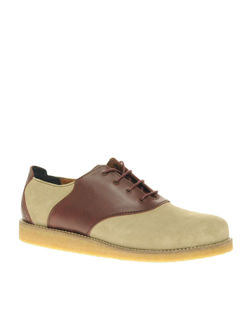 Wedged Brown Saddle Shoes For Women