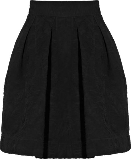 Zac Posen Pleated Crepe Aline Skirt in Black - Lyst