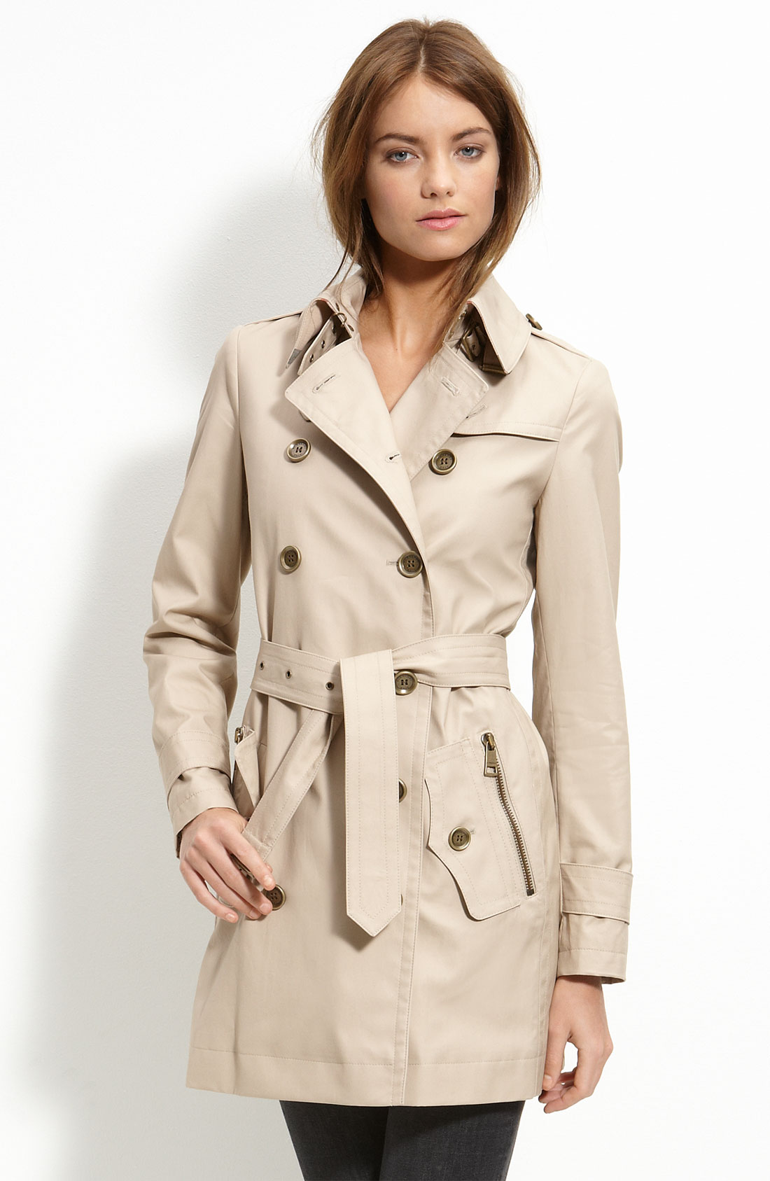 burberry brit double breasted trench coat in green lyst. Black Bedroom Furniture Sets. Home Design Ideas