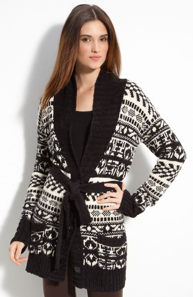 Dkny Fair Isle Belted Cardigan in Black (black/creme pattern) - Lyst