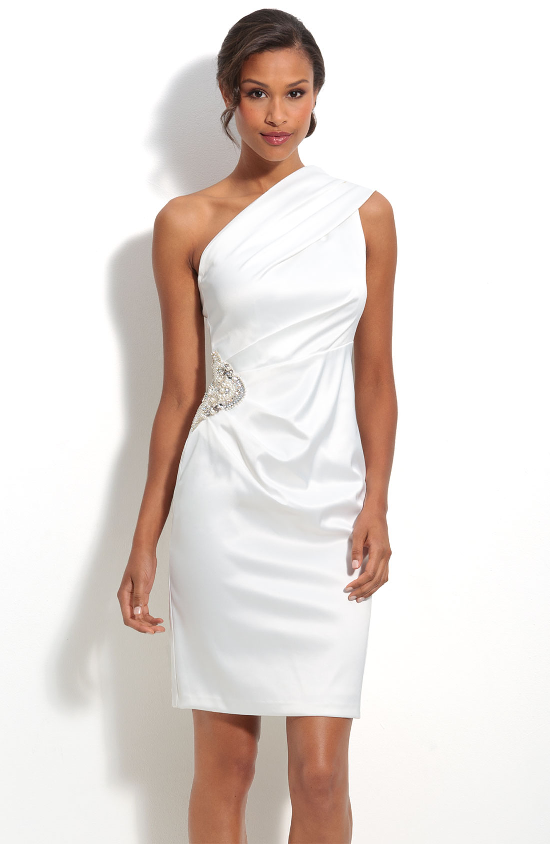 Eliza j beaded one shoulder satin dress in white ivory for Nordstrom short wedding dresses