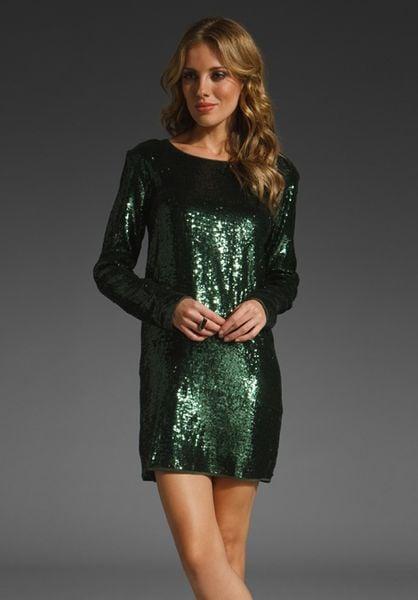 Haute Hippie Long Sleeve Sequined Mini Dress In Green