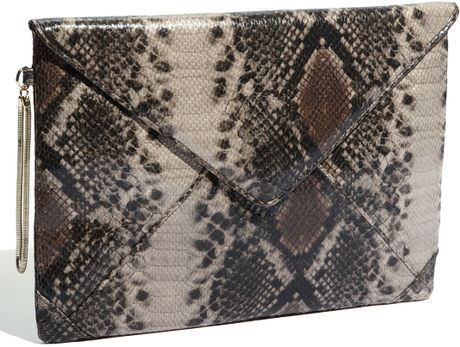 French Connection Secret Faux Leather Clutch in Beige (natural snake)