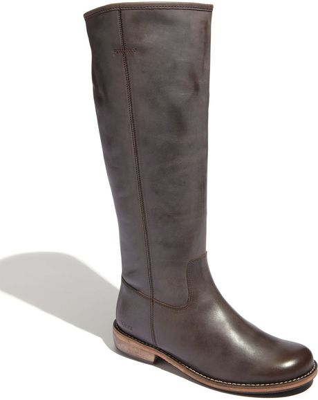 kickers road boot wide calf in brown brown lyst