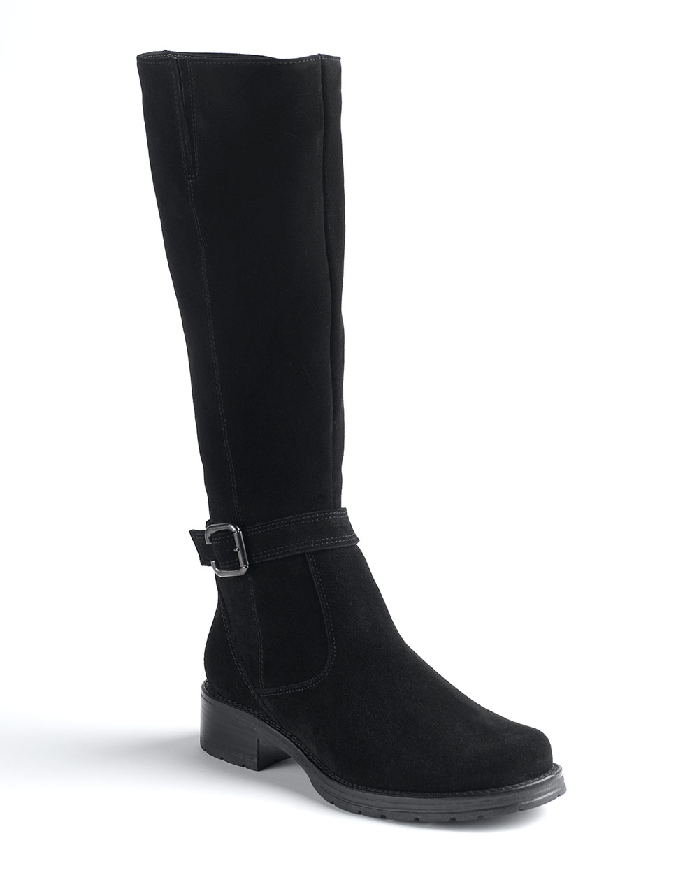 la canadienne gloria buckled suede boots in black