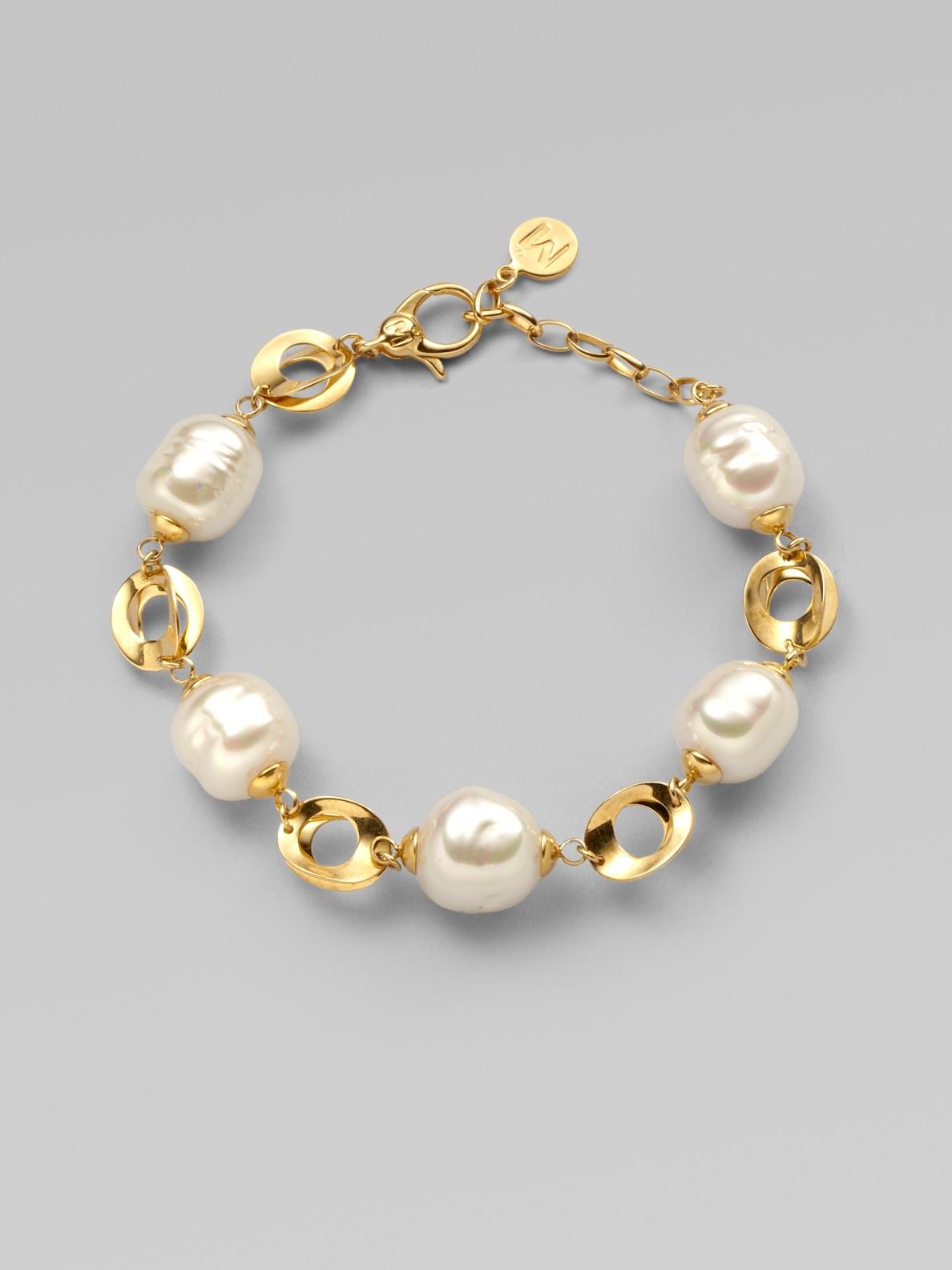 Majorica 12mm White Baroque Pearl Link Bracelet In