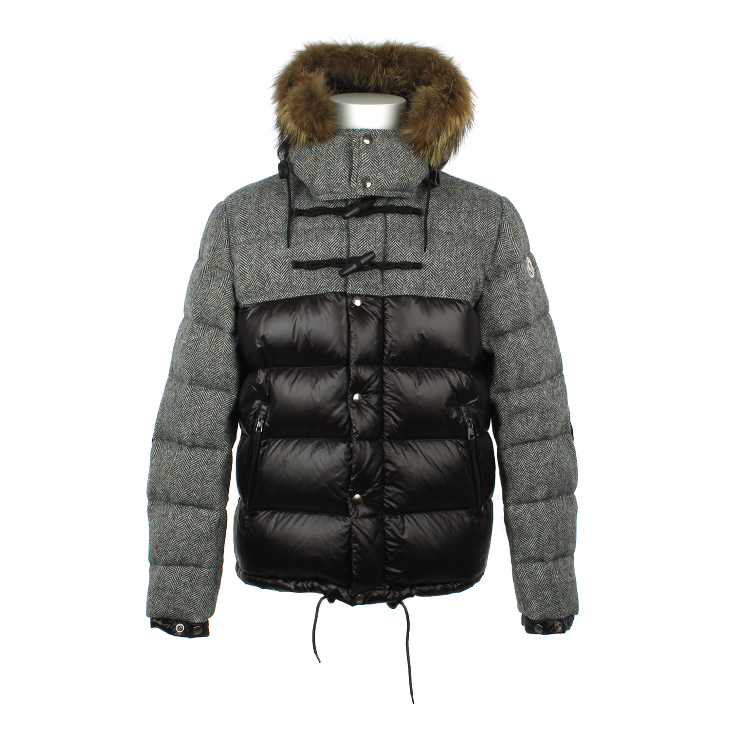 Moncler Tweed And Polyamide Down Jacket In Multicolor For