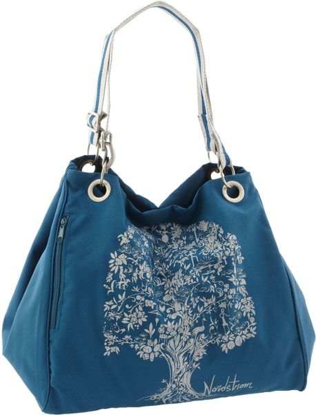 Nordstrom Slouchy Eco Tote with Pouch in Blue (teal) - Lyst