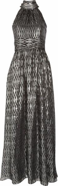 Halston Heritage Halterneck Metallic Silk-blend Jacquard Gown in Silver