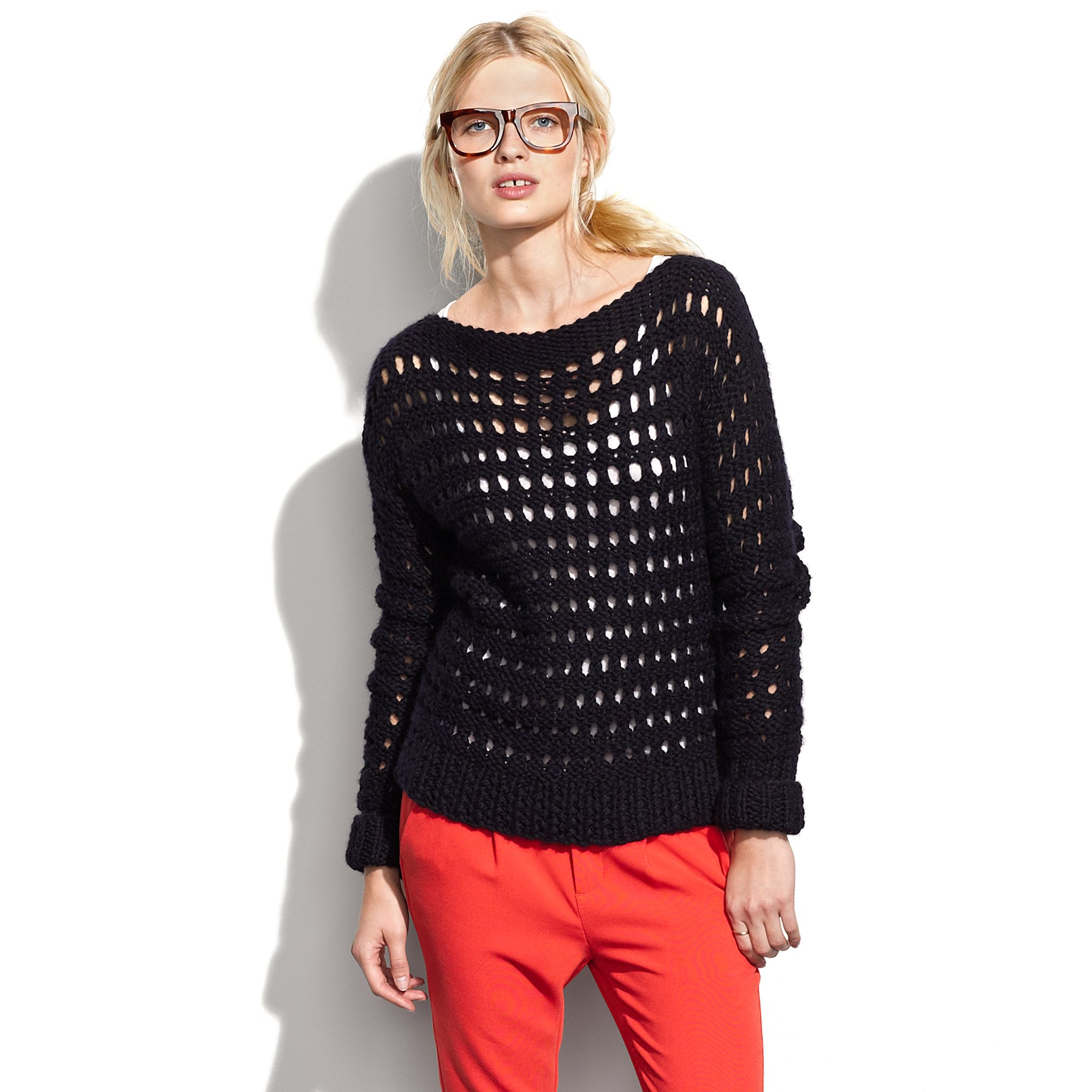 Madewell Wool and The Gang™ Hole in One Sweater in Black | Lyst
