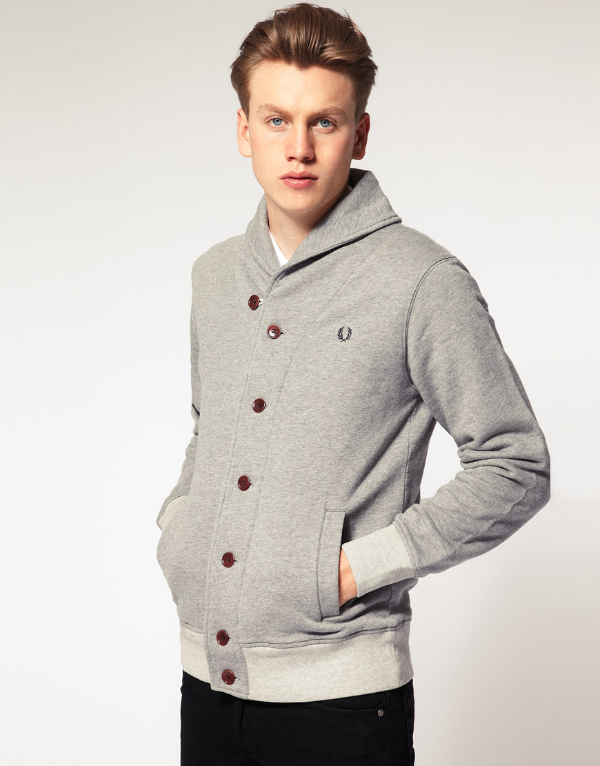 fred perry fred perry shawl collar sweat cardigan in gray for men grey lyst. Black Bedroom Furniture Sets. Home Design Ideas