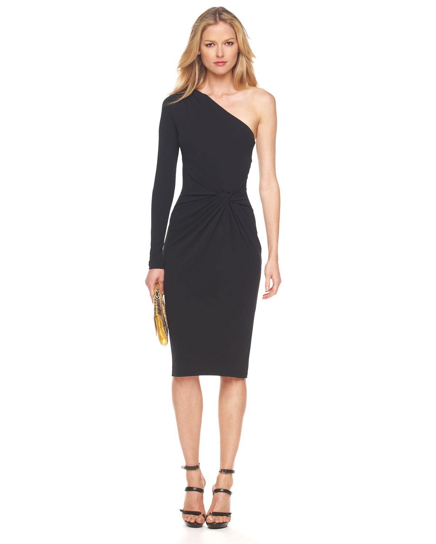 Michael Kors Matte One-sleeve Jersey Dress in Black | Lyst
