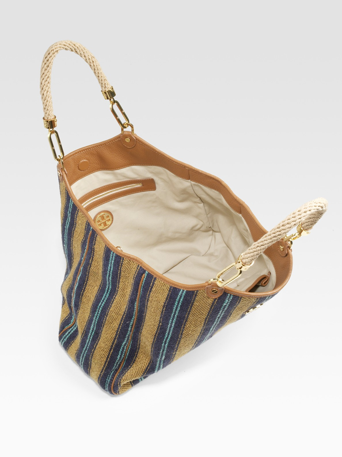 Tory Burch Channing Burlap Tote Bag In Natural Lyst