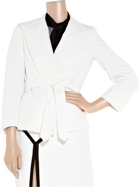 Saint Laurent Belted Cotton Canvas Jacket In White Lyst