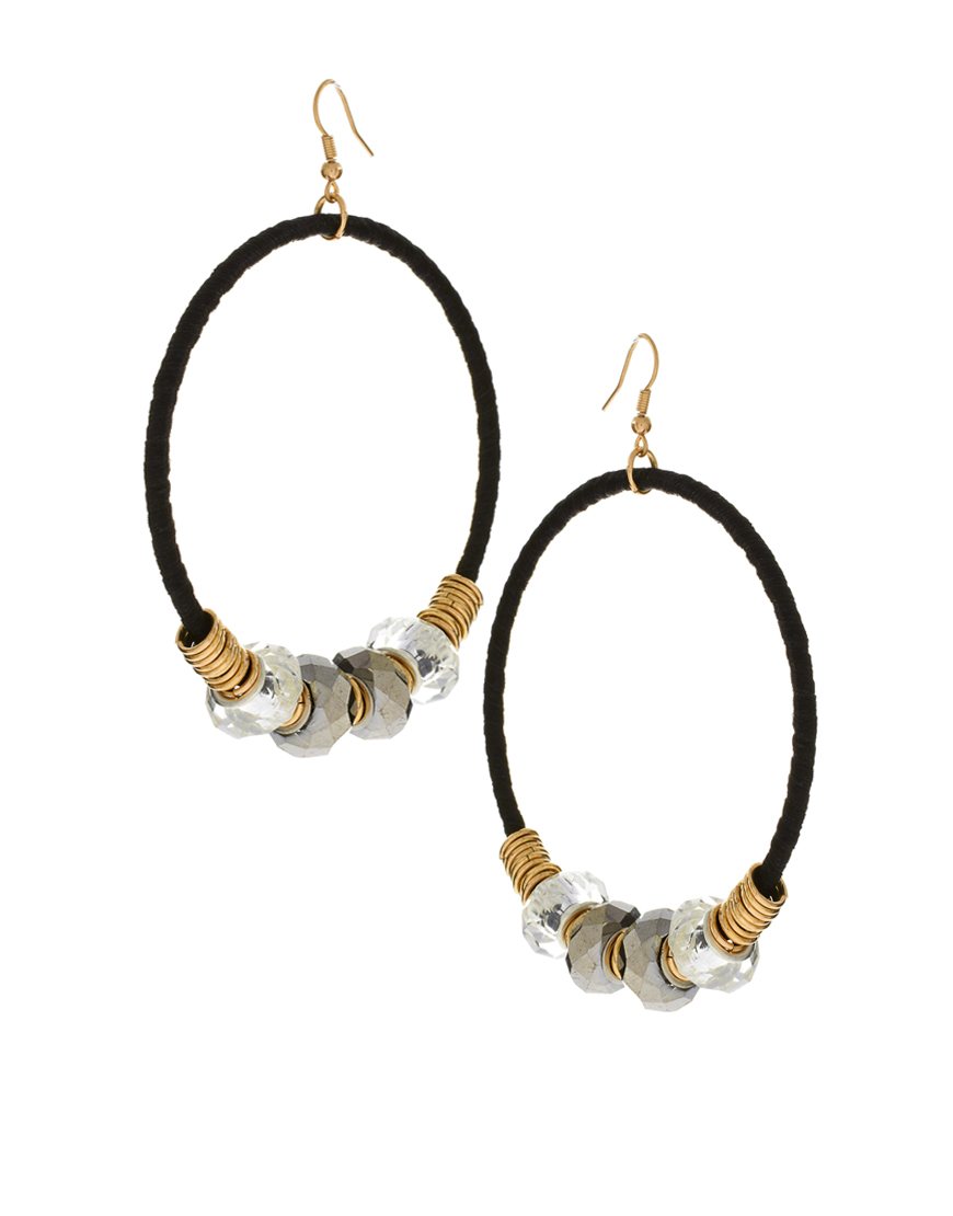 Asos Collection Asos Earrings Fabric Wrapped Beaded Disc ...
