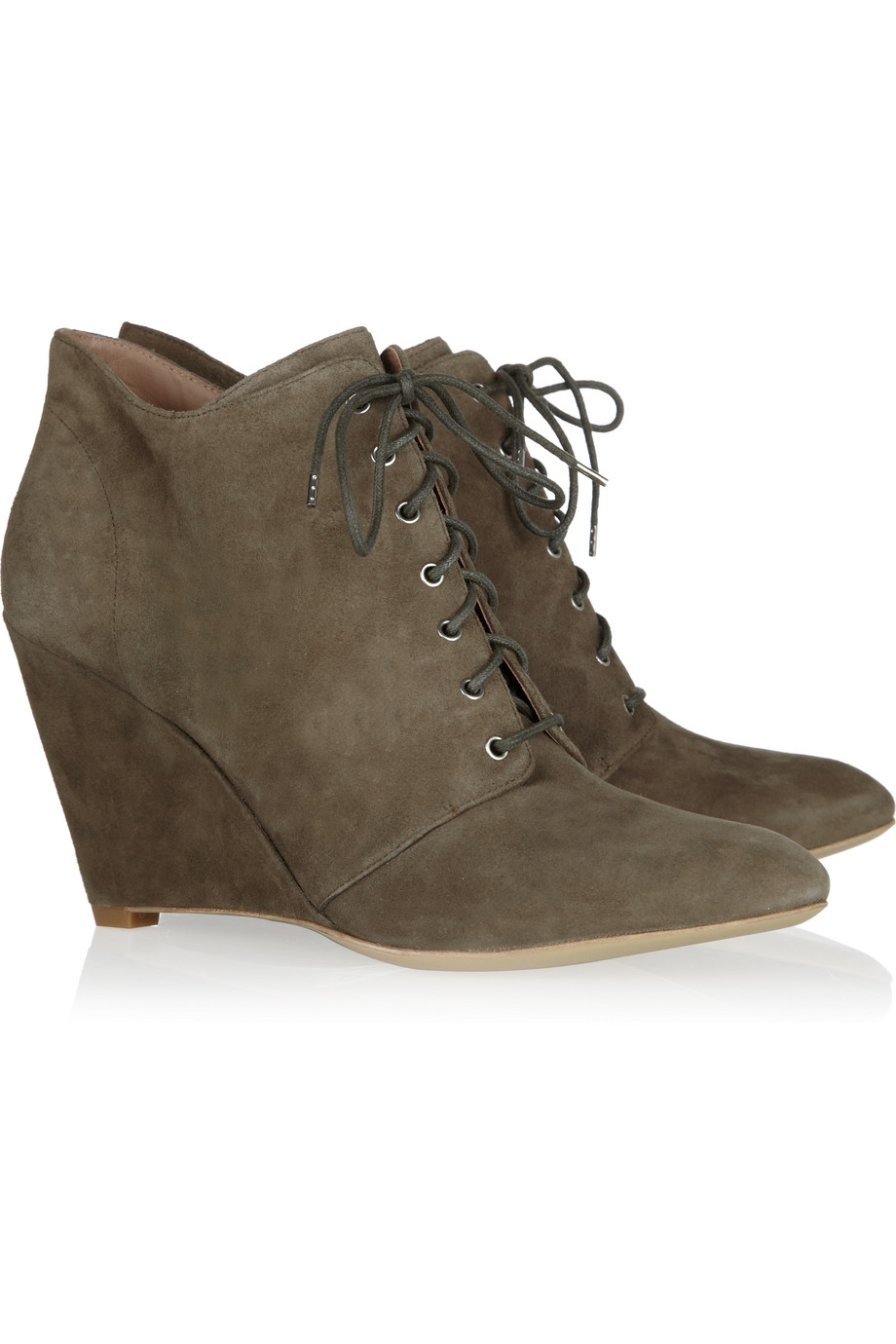 by sigerson morrison lace up suede wedge ankle boots