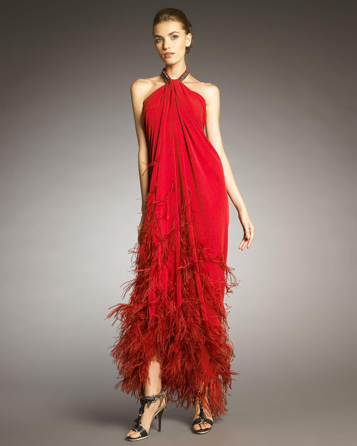 Lyst Lanvin Feather Applique Halter Gown In Red
