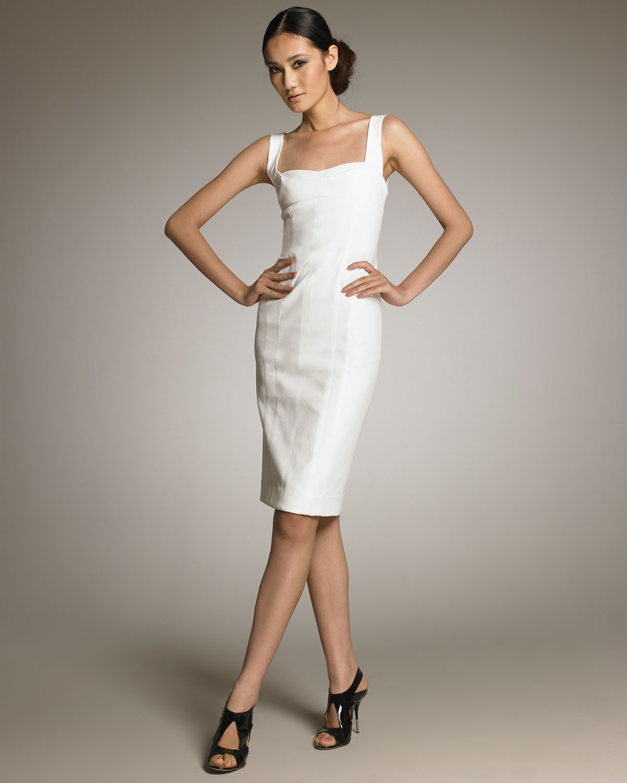 Narciso rodriguez Sleeveless Sheath Dress in White | Lyst