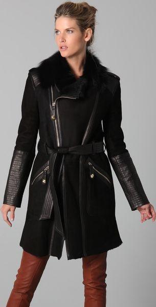 Temperley London Sofia Sheepskin Coat in Black