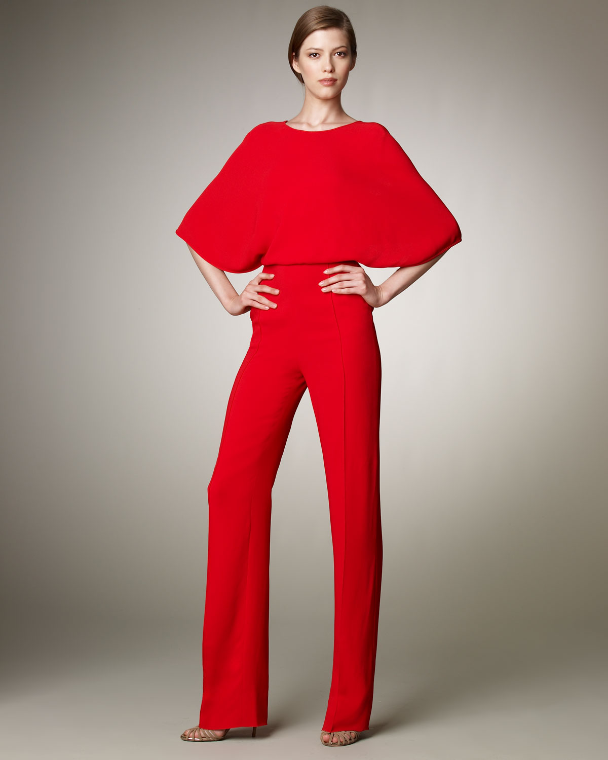 Valentino Cross Back Cady Jumpsuit In Red Lyst