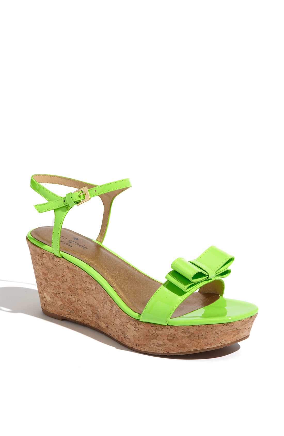 kate spade bandit cork wedge sandal in green lime