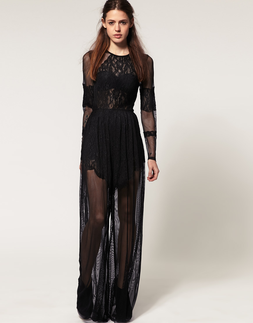 37b5d2ca3f9 Lyst - ASOS Collection Asos Premium Lace and Mesh Jumpsuit in Black