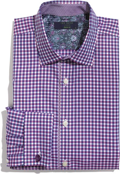 ted baker plaid dress shirt in purple for men lyst