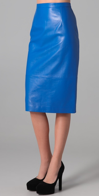 Tibi Leather Pencil Skirt in Blue | Lyst