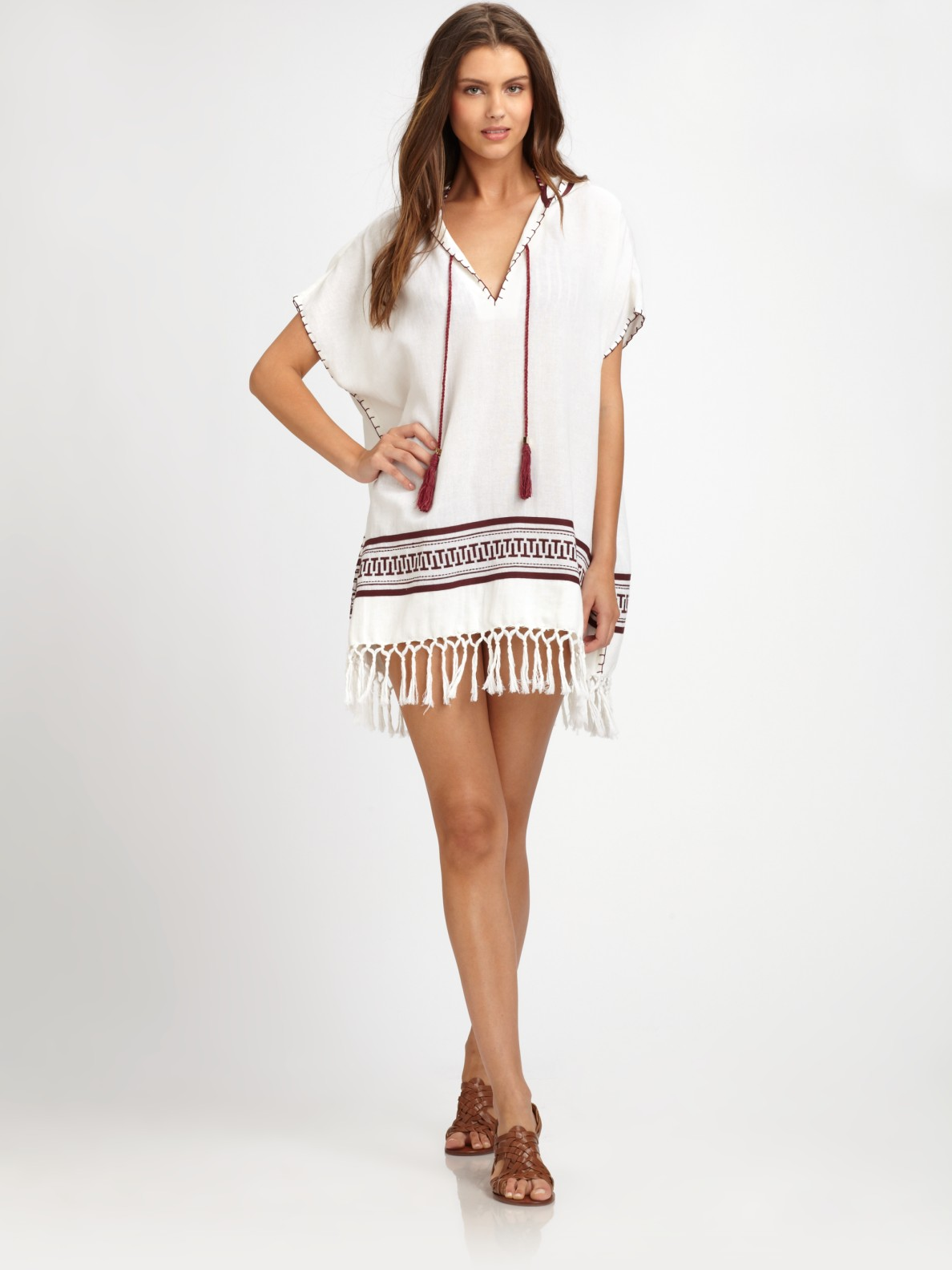 Tory burch cotton hooded beach poncho in white lyst for Tory burch fashion island