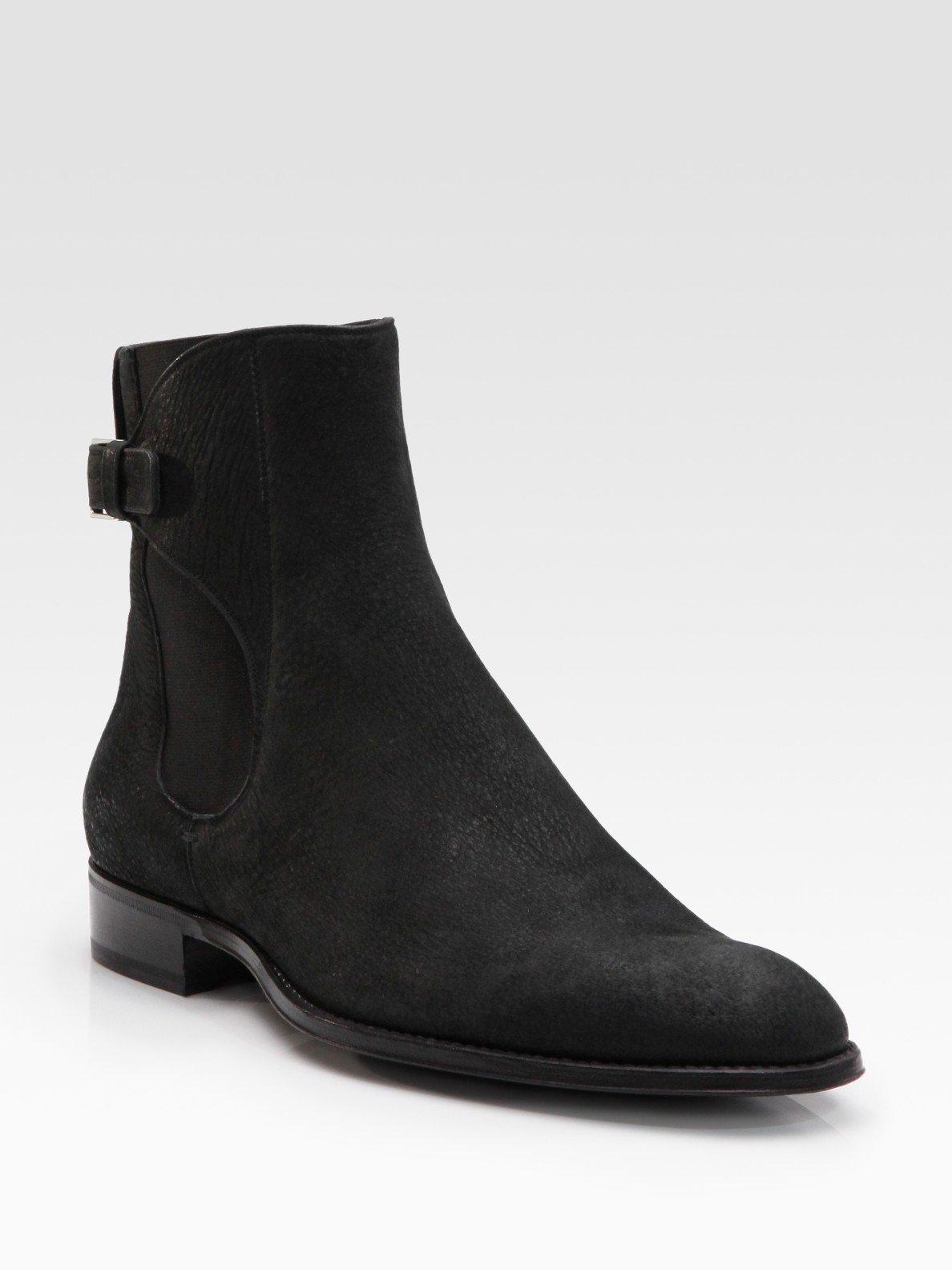 dior homme buffalo leather ankle boots in black for men lyst. Black Bedroom Furniture Sets. Home Design Ideas