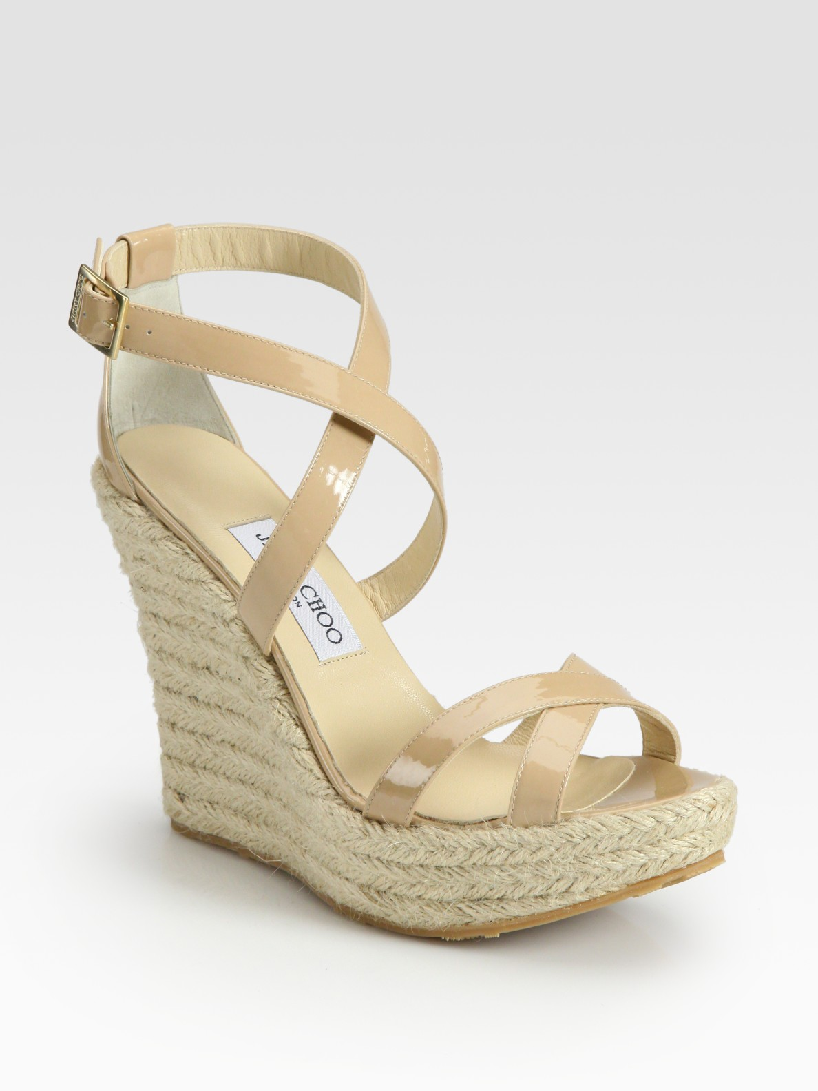 6ab54430b65b8 ... discount code for lyst jimmy choo porto patent leather espadrille wedge  sandals in ac4a8 35294