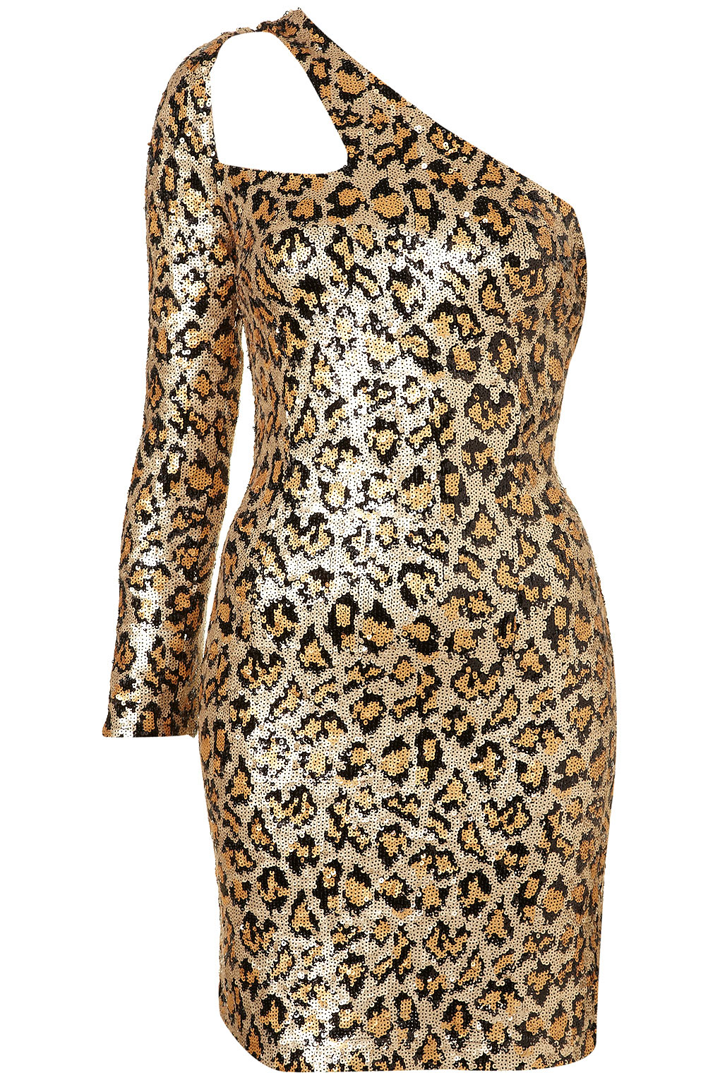 Topshop Leopard Sequin Strap Dress. in Metallic | Lyst