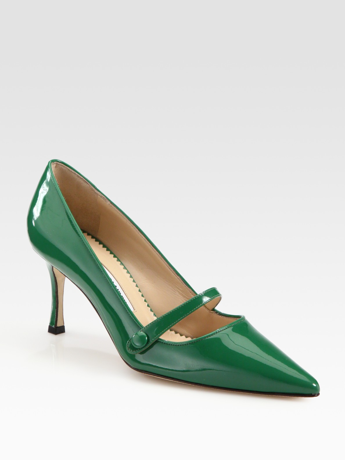 Lyst Manolo Blahnik Patent Leather Point Toe Mary Jane