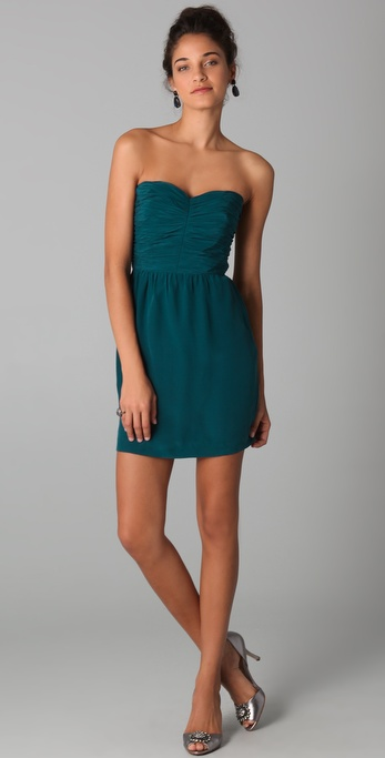 Rebecca Taylor Ruched Strapless Dress In Teal Blue Lyst